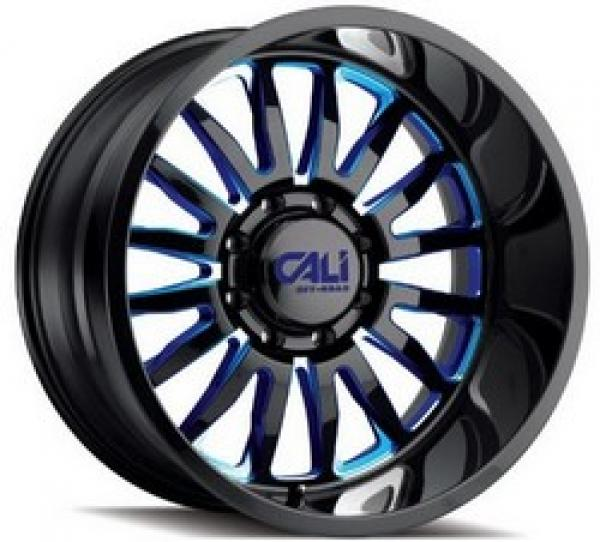 SUMMIT GLOSS BLACK/BLUE MILLED SPOKES